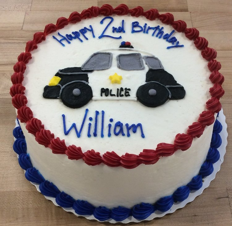 Piped Police Car On Round Cake Trefzgers Bakery