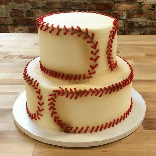 Two Tiered Baseball Party Cake Trefzger S Bakery