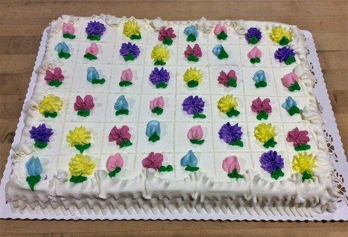 Sheet Cake Marked For Servings Trefzgers Bakery