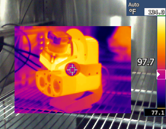 Carnegie Robotics has also thermally tested MultiSense units at both high and low extremes as part of our design validation process. Here an engineering sample unit is undergoing a operational test at 50C (122F) ambient.