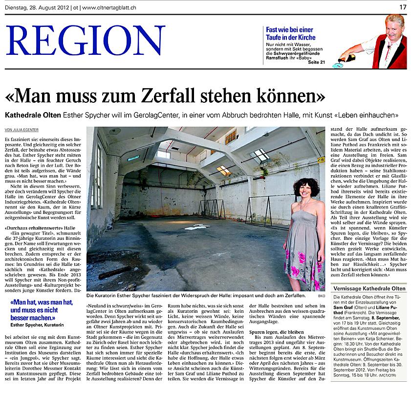 Artikel Im Oltener Tagblatt vom 28.8.2012
