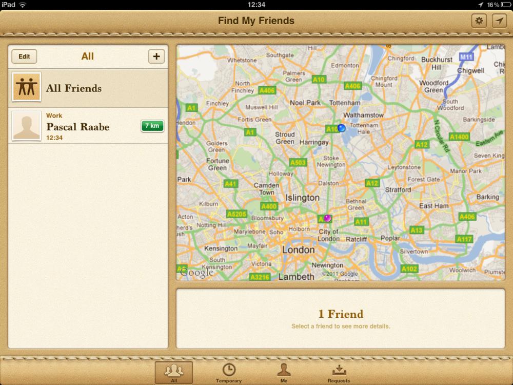 Interfaz de la aplicación Amigos (iOS)