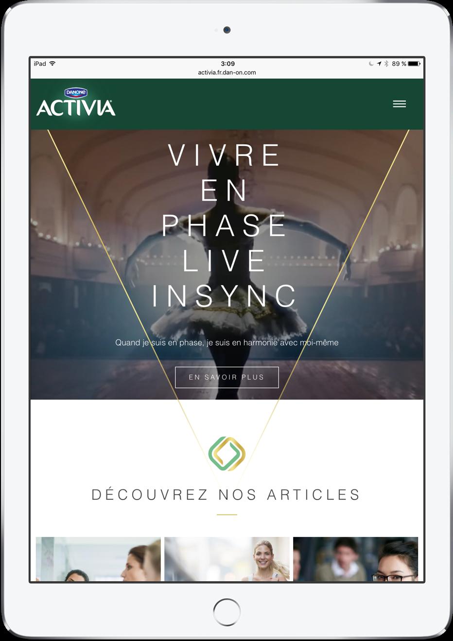 Activia website francés