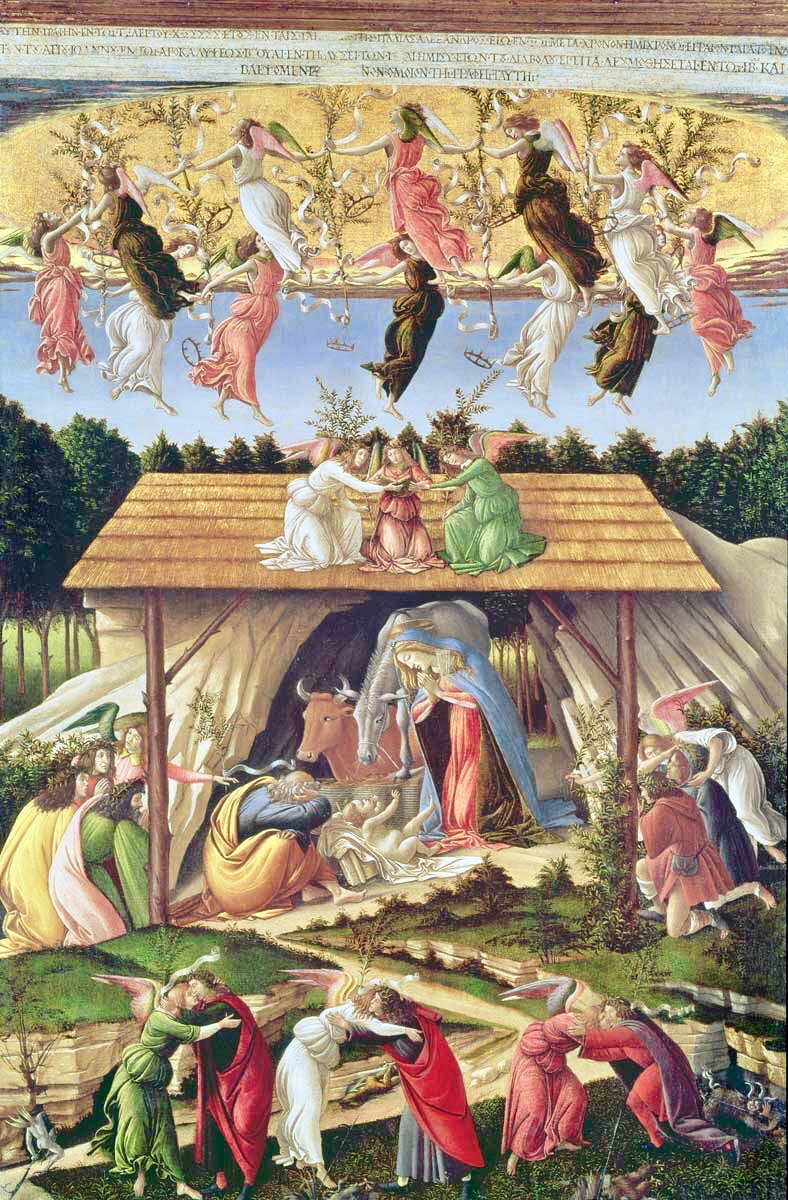 Natividad mística. Sandro Botticelli. Óleo sobre tela. London National Gallery. Año 1501.