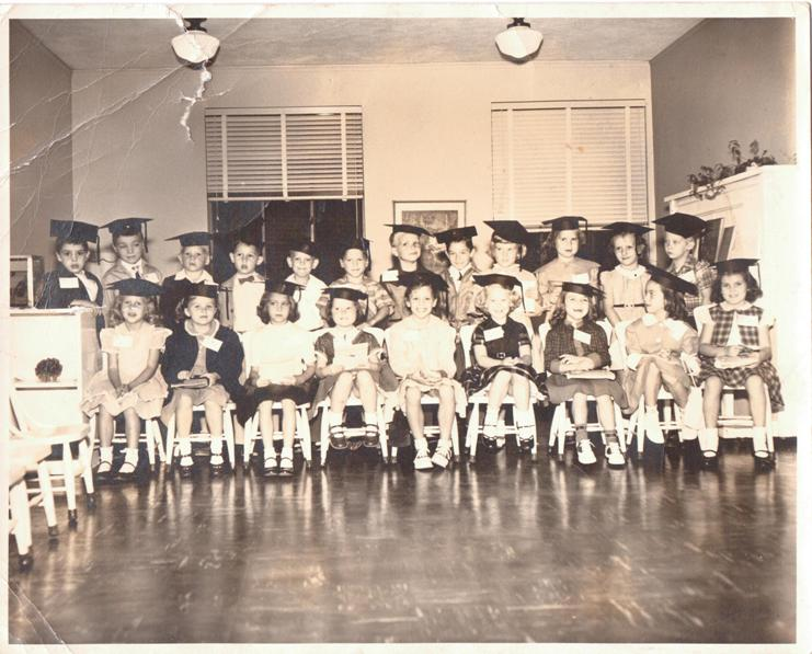 PMBC+21+kids+(4-5+yrs+old)+in+grad+hats,+after+1950,+Fletcher+basement+floor.jpeg