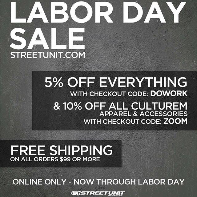SU Labor Day Sale - Now Through Labor Day!  5% OFF EVERYTHING on Streetunit.com - Code: DOWORK  10% OFF ALL CultureM Apparel & Accessories on Streetunit.com - Code: ZOOM  #streetunit  #mazda #mazdaspeed #msp #ms3 #ms6 #cx3 #cx5 #cx7 #cx9 #miata #mx5 #protege #mps #mazdamps #mazdaspeed3 #mazdaspeed6 #mazda3 #mazda6 cc#mazdanation #mazdaspeednation #thecode #mazdamovement #mazdamilitia #mazdafam #mazdagirls #mazdafitmemt #hatchsociety #mazdausa #mazdarevolution