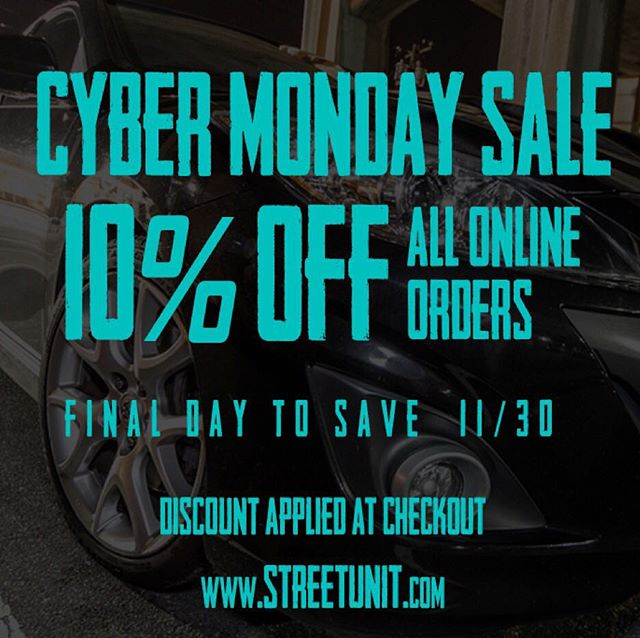 Final day for 10% off EVERYTHING at www.streetunit.com!  This is your opportunity to SAVE!  #streetunit #mazda #mazdaspeed #msp #ms3 #ms6 #cx3 #cx5 #cx7 #cx9 #miata #mx5 #protege #mps #mazdamps #mazdaspeed3 #mazdaspeed6 #mazda3 #mazda6 #mazdanation #mazdaspeednation #thecode #mazdamovement #mazdamilitia #mazdafam #mazdagirls #mazdafitmemt #hatchsociety #mazdausa #mazdarevolution