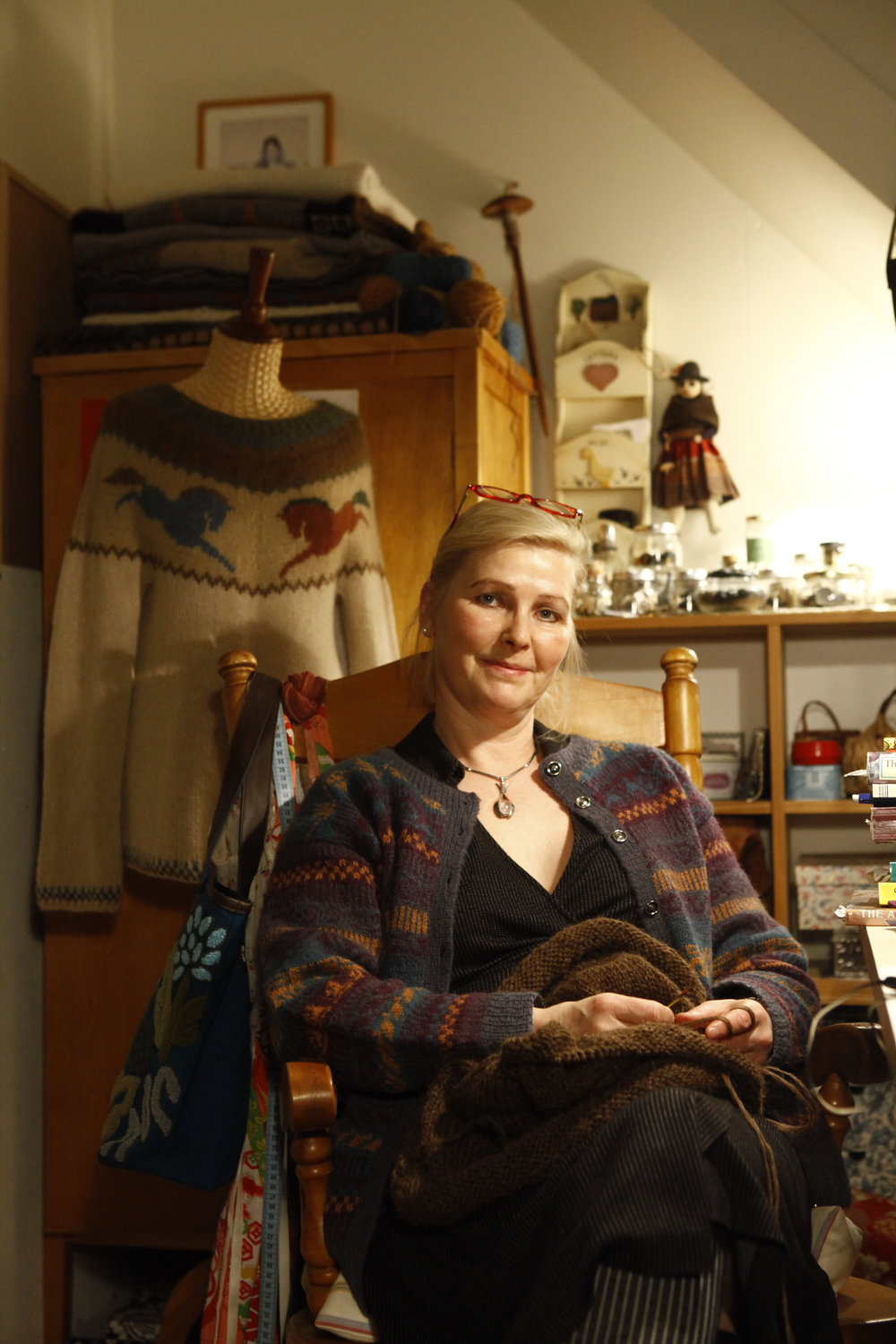 Me in my favourite spot - surrounded by my knitting stuff and sitting by the widow with the knitting needles in my hands - JUST LIKE MY MOTHER....;)