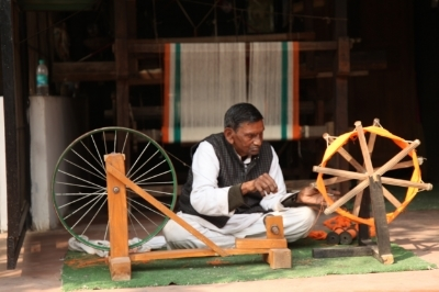 Spinning wheel still be used at the         mahatma gandhi residence