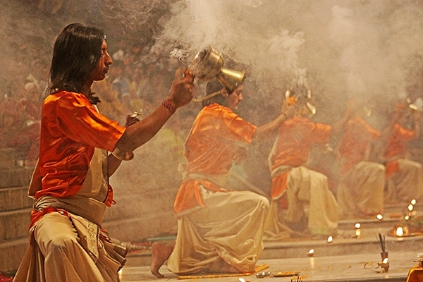 Aarti ceremony at Dashashwamedh ghat on the Ganga                               in Varanasi