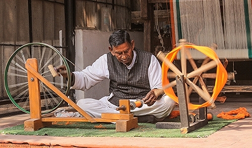 The spinning wheel at gandhiji's residence