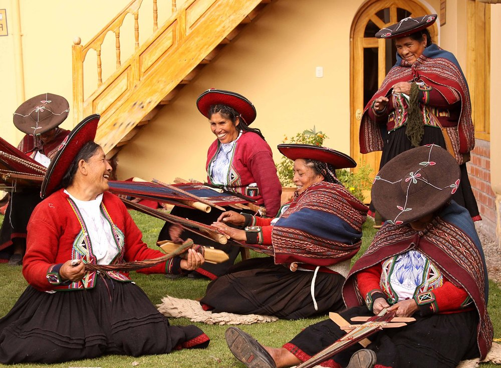 Peru W Weaver's Village Chinchero Peru group of weavers.jpg