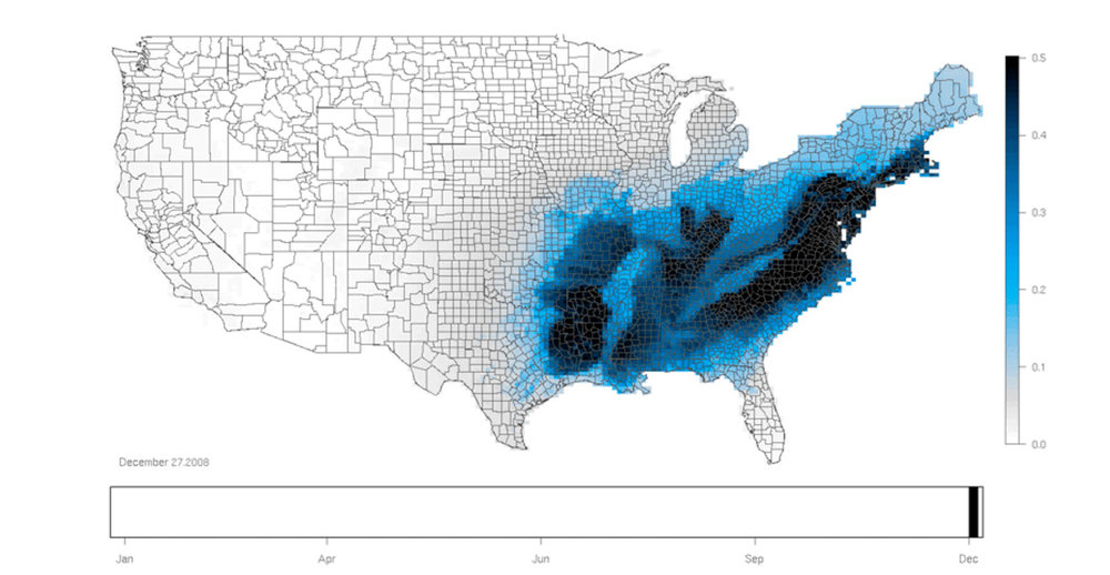 White-throated Sparrow winter rang-map.
