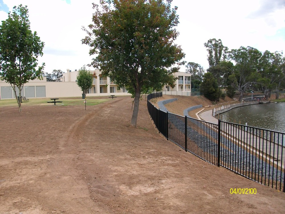 A finished view of gabion walls and landscaping at Lake Nagambie
