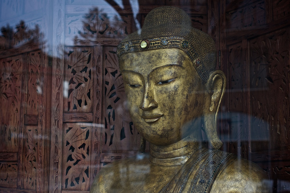Nikon D5300 50/1.4 140225 . . . Buddha in store window Saratoga Springs NY