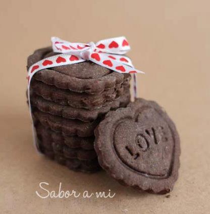 Corazones de galleta de chocolate by  Sabor a mi