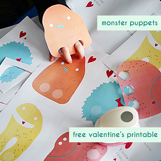 Monster Puppet Valentines [ vía Small for Big ]