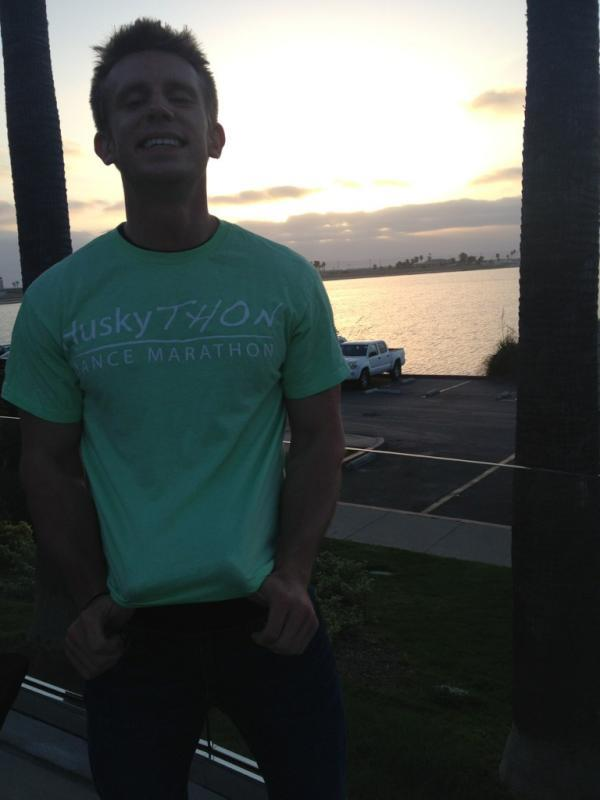 Matt shows off his HuskyTHON Morale Captain tee in San Diego.