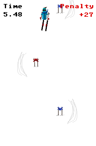 Gerry makes a player sprite and gate sprites. I move away from using green bars to indicate which side you have to skii through and add carve markings on the side of the gate that you have to ski on (thanks to Rob Lockhart for that suggestion!).