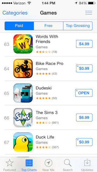 Rank 65 in paid games.