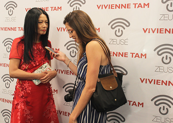 Vivienne Tam being interviewed pre-show.  She is so calm and composed!