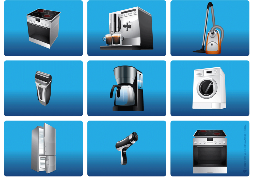 Euronics Haushaltsgeräte – Herd, Espresso-Maschine, Staubsauger, Rasierer, Kaffeemaschine, Waschautomat, Kühlschrank, Fön, Vektor Illustration