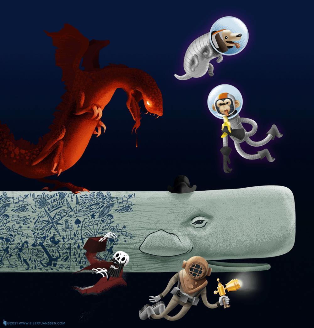 Illustration Wal, Tattoo, Drache, Skelett, Pirat, Affe, Hund, Tiefseetaucher