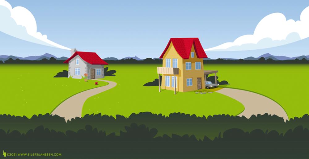 Vektor Illustration Häuser, Haspa