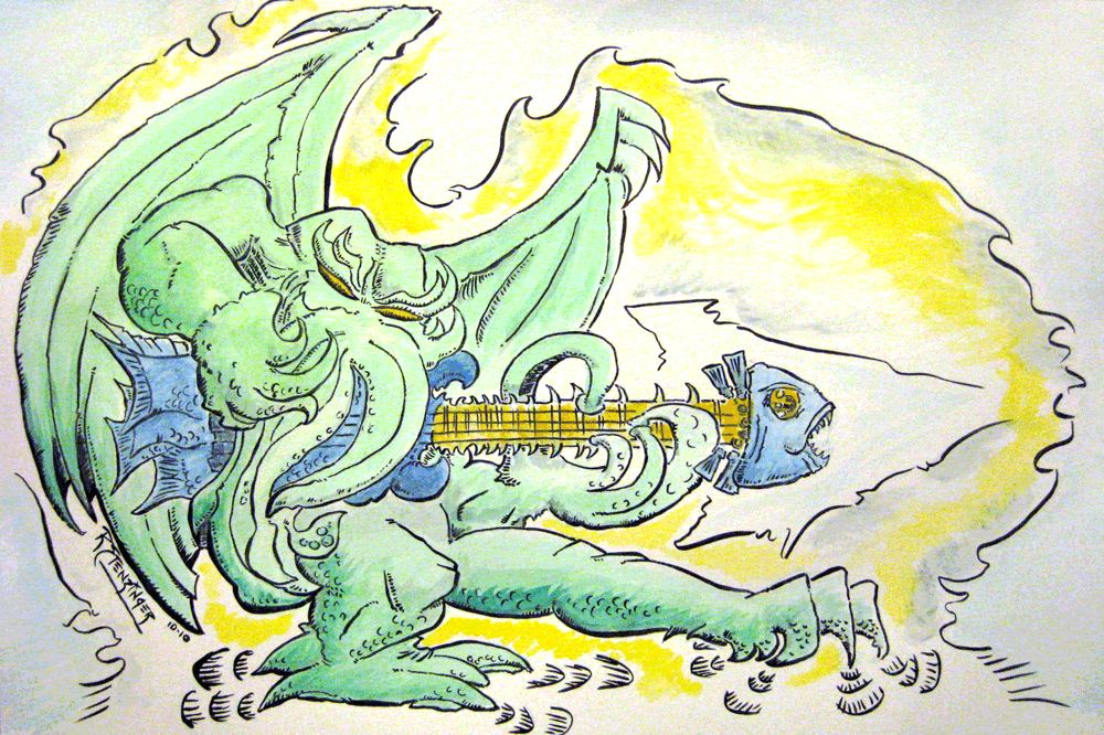 Cthulhu - Deep Sea Bassist (Comic Art - Ink + Watercolor)