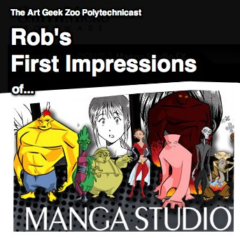 In this episode I reflect on my first few weeks of using of Manga Studio. Adobe Photoshop Manga Studio Bizarro Krishna Sadasivam of PC Weenies Jonathan Rector Bryon Wilkins Web Comic Alliance - Getting Started With Manga Studio Rob's 10 Finished Pages on 24 Hour Comic Day, All in Manga Studio Google Sketchup Export Sketchup to Obj (normally a Pro feature, this is a Ruby script work-around) Follow Rob on Twitter or his blog at Interactive-Storyteller.com