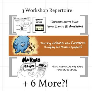 In this episode, I share my work in progress plans on adding 6 more art/code/comics/UI workshops (in a fairly short timeframe) to my 3 workshop repertoire. Links Mentioned Lean Into Art and 30 Classes in 30 Days Storytelling to Make Your Comic's UI Awesome Comics Are Great by Jerzy Drozd Turning Jokes into Comics: Laughing Yeti Monkey Spaghetti Intervention Con Follow Rob on Twitter or his blog at Interactive-Storyteller.com
