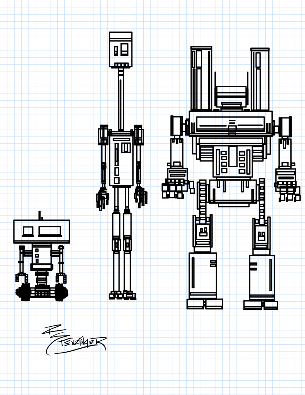 These three robots began my curiosity with rectangle based drawing.