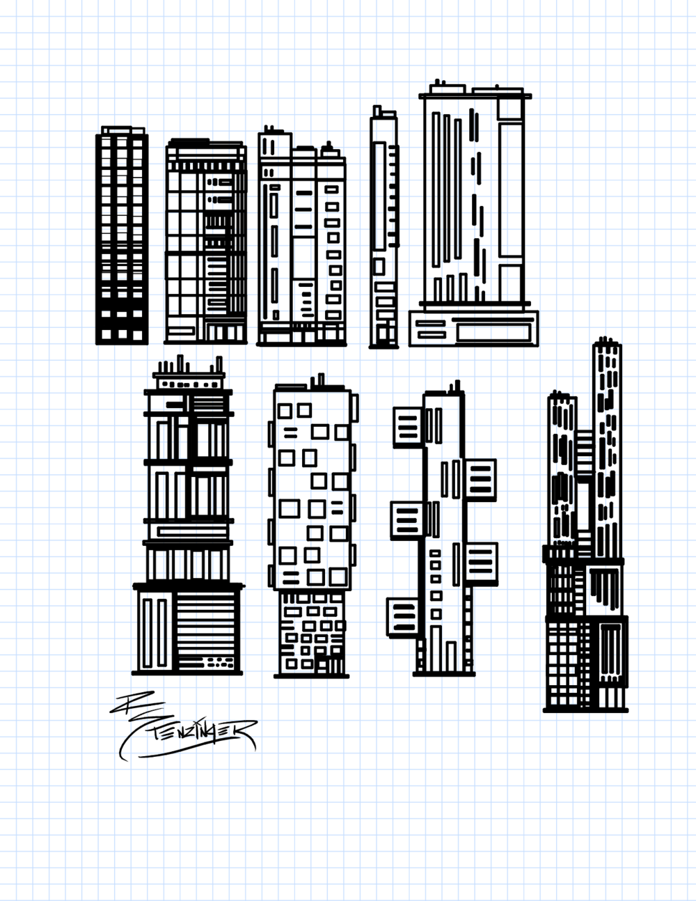 Buildings, perhaps to use in a future video game concept.