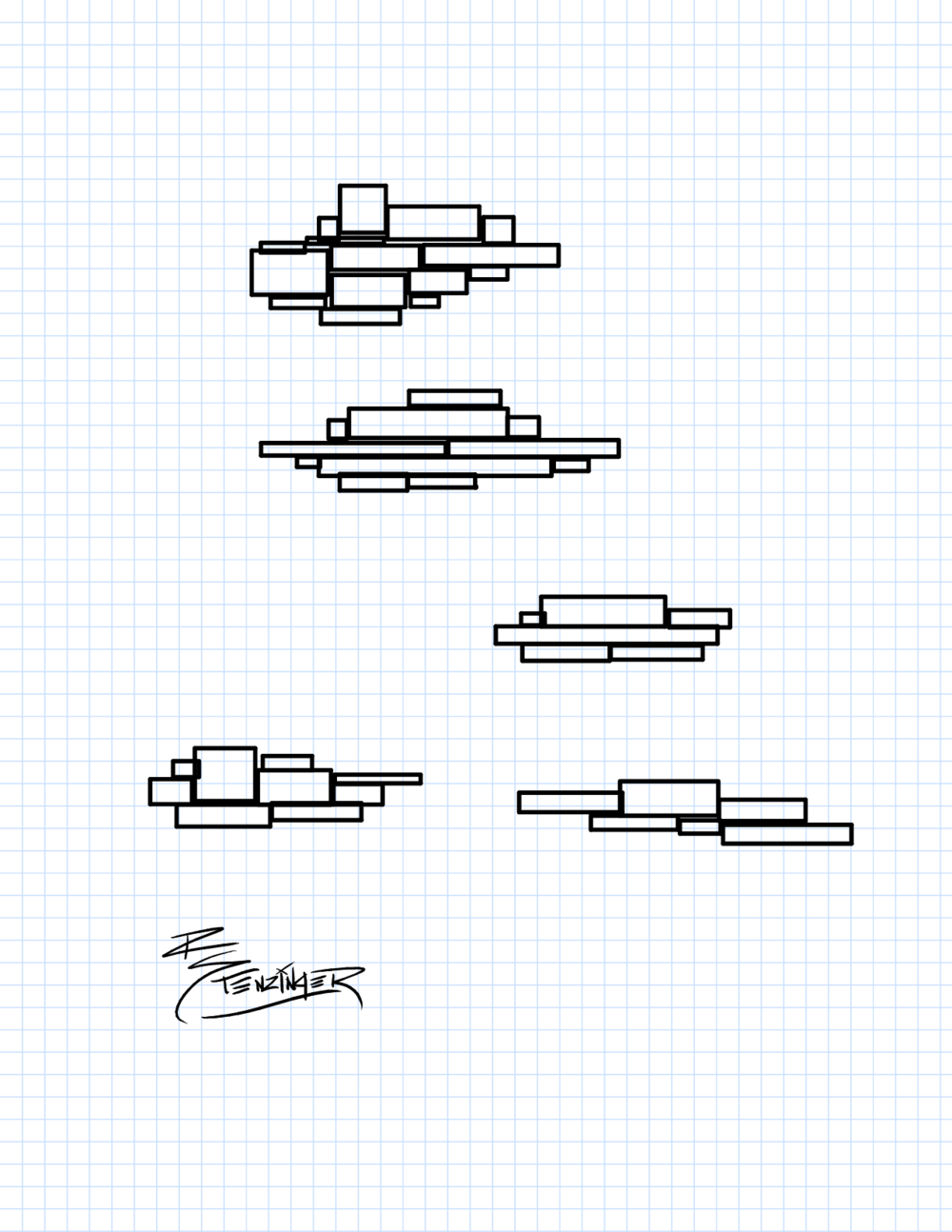 An attempt at clouds, though they more closely resemble battleships or extra simplified 8-bit art.