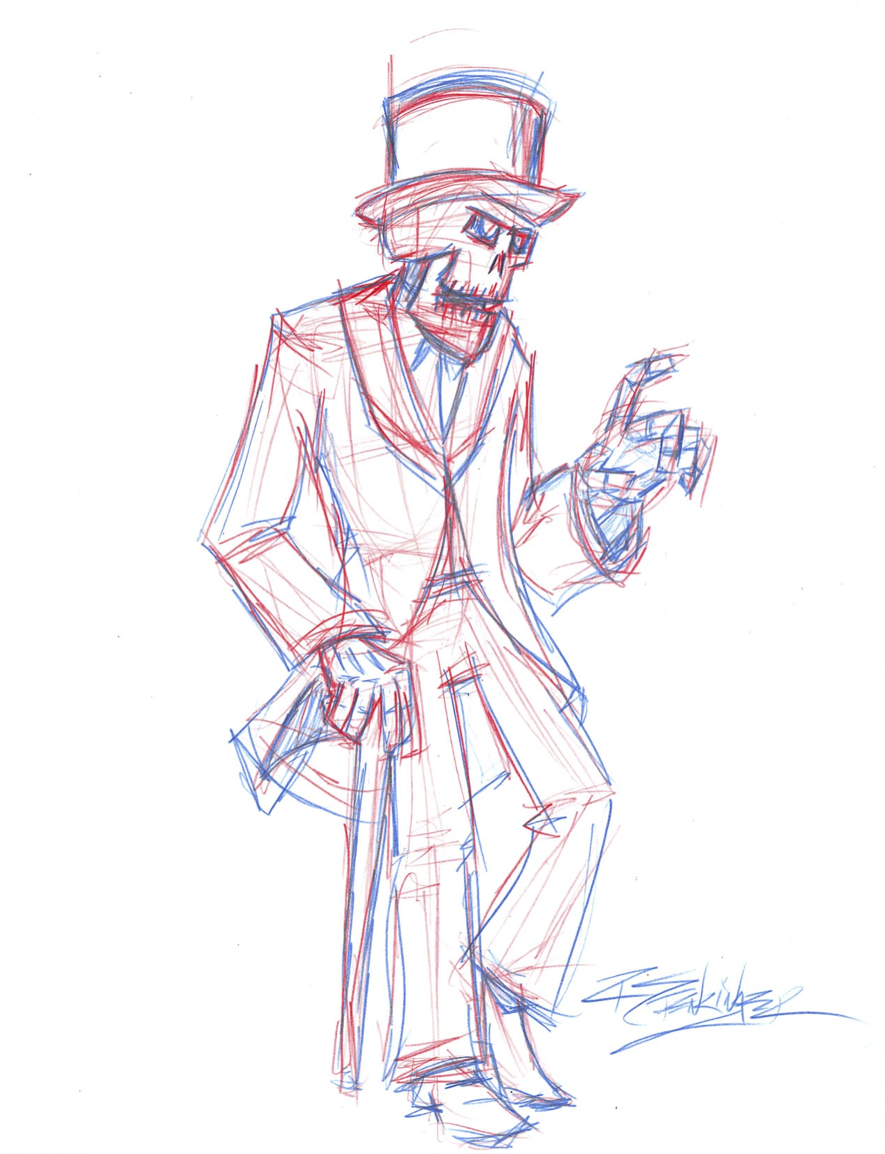 Sketch Top Coat Top Hat Skeleton Fellow Interactive Storyteller