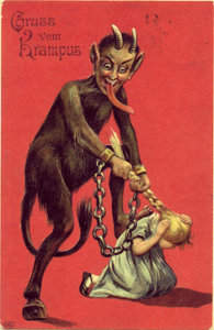 "Greeting card that says ""Greetings from Krampus"""