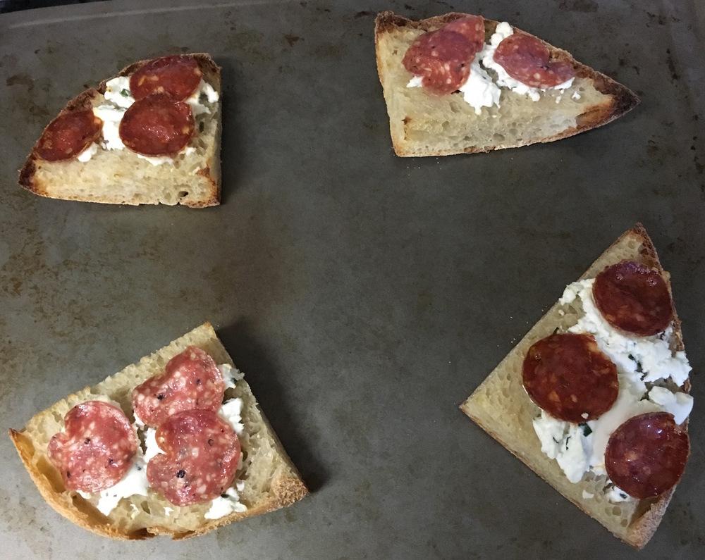 Salumi and Chevre on Toast