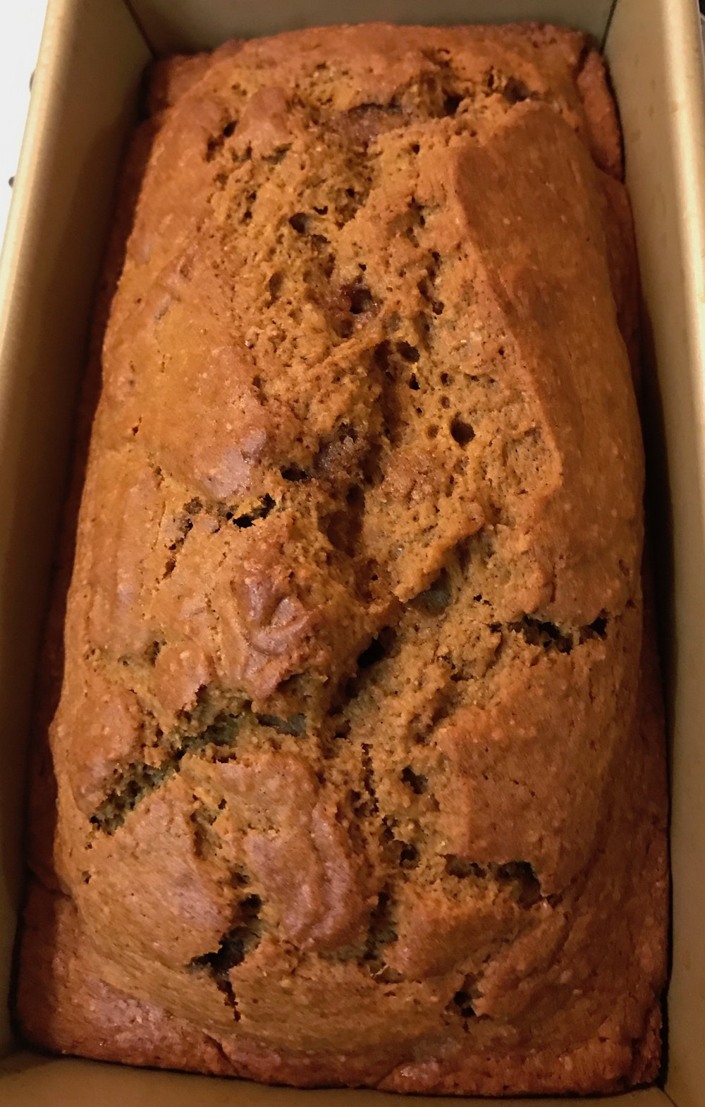 pumpkin bread with bourbon and brown butter