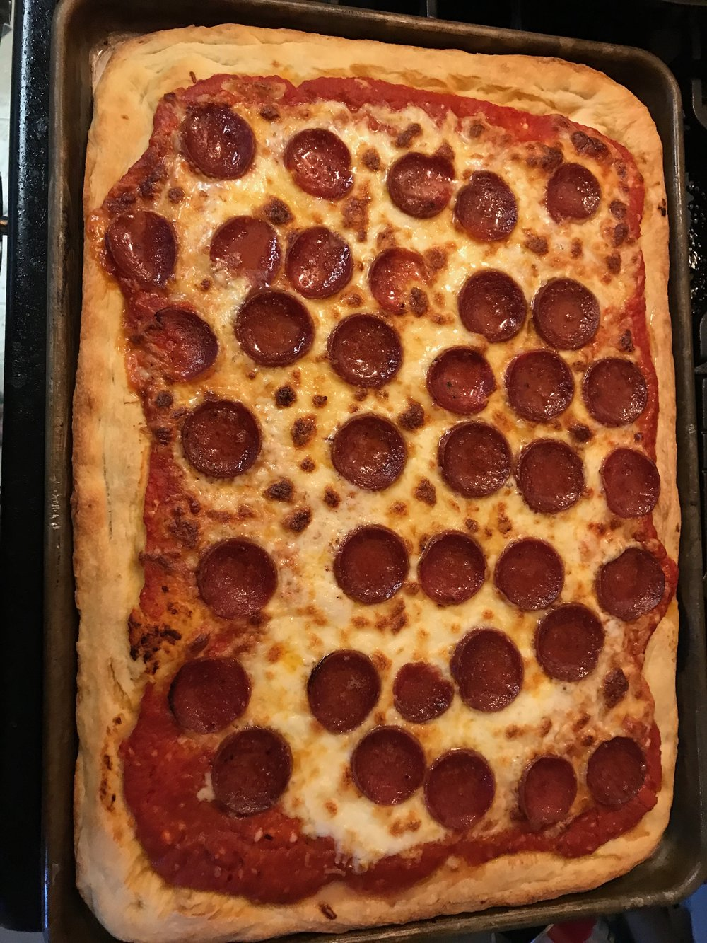 Pizza just out of the oven