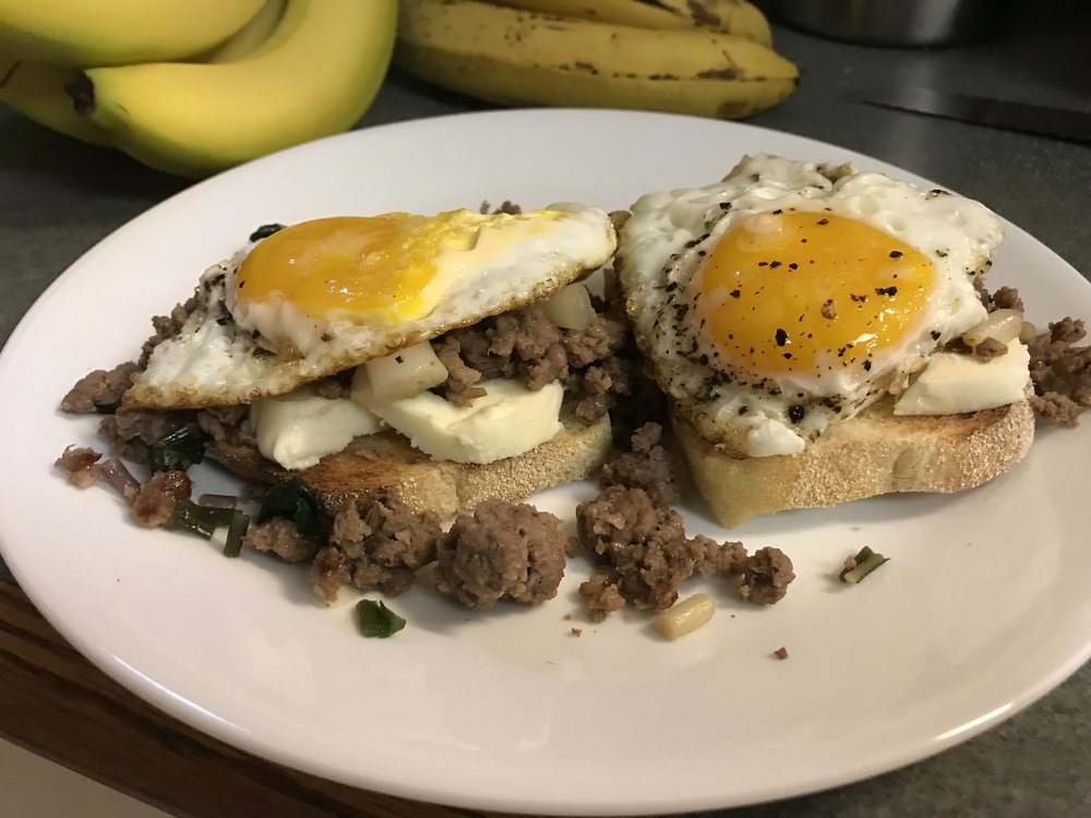 Italian Sausage, Ramps and Mozzarella on English Muffins