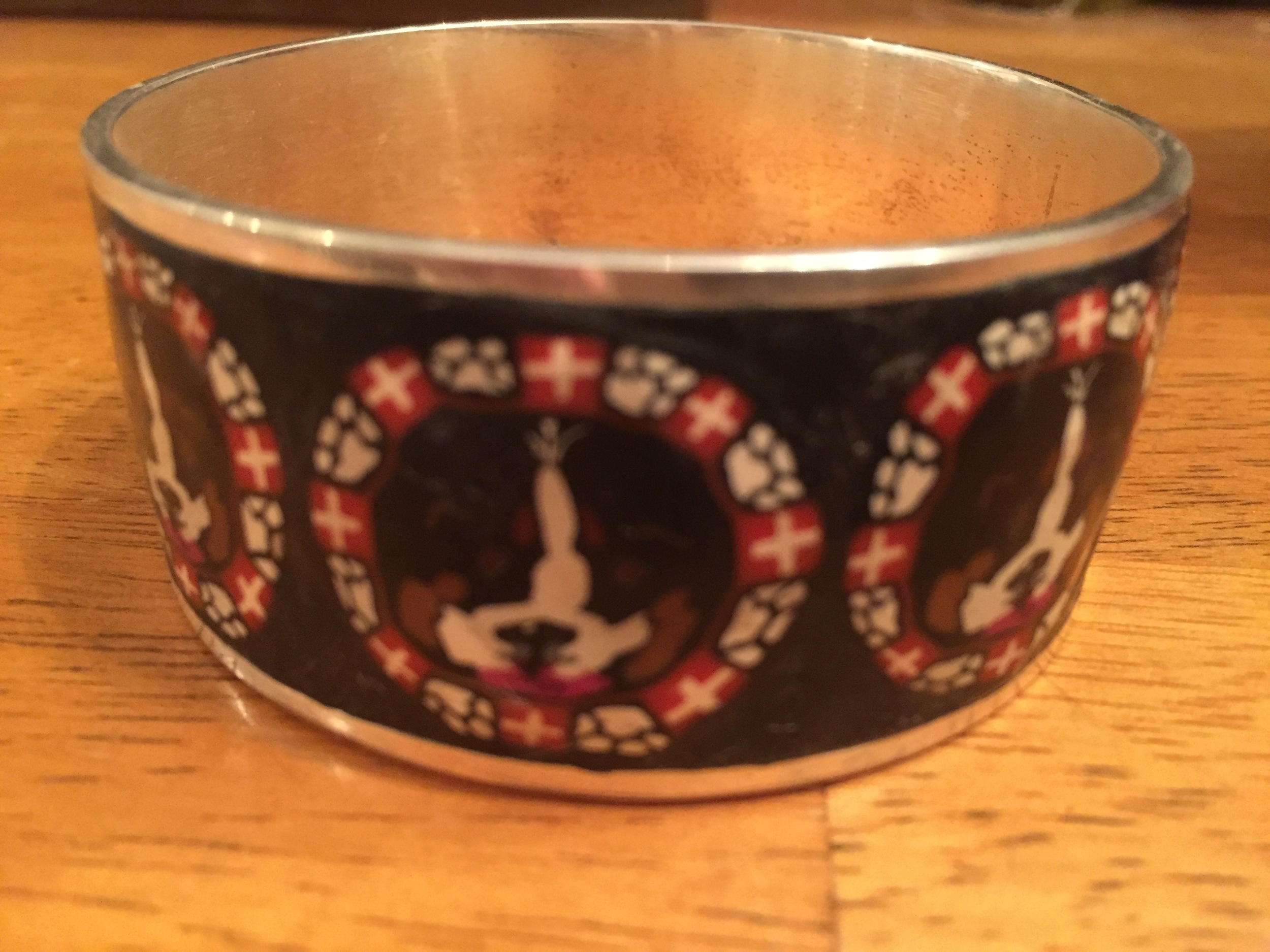 Bernese Mountain Swiss Flag, Berner & Paw print Millefiori Motif (Size  Medium) Please check sizing chart prior to order