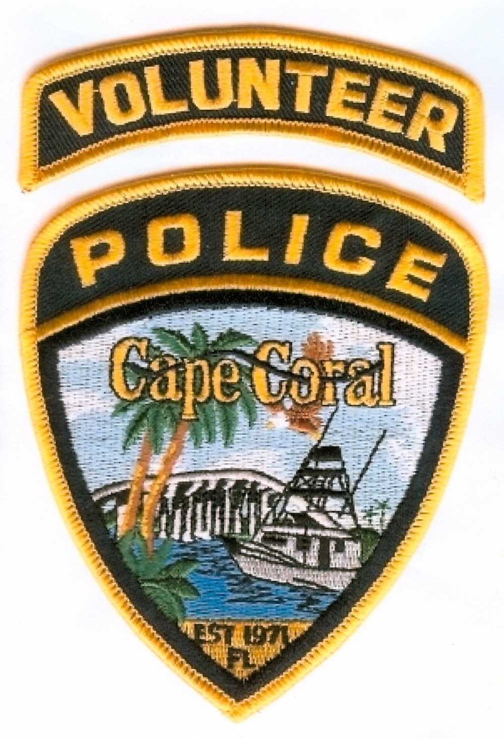 PHOTO:  Image of the Cape Coral Police Department Police Volunteer Unit Patch.  (Photo Courtesy of Cape Coral Police Department)