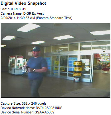 PHOTO: Stills from surveillance video show a subject who was with the suspect in a credit card fraud case exiting the Wal-Mart at 1619 Del Prado Boulevard S.. (Photo Courtesy ofCape Coral Police Department)
