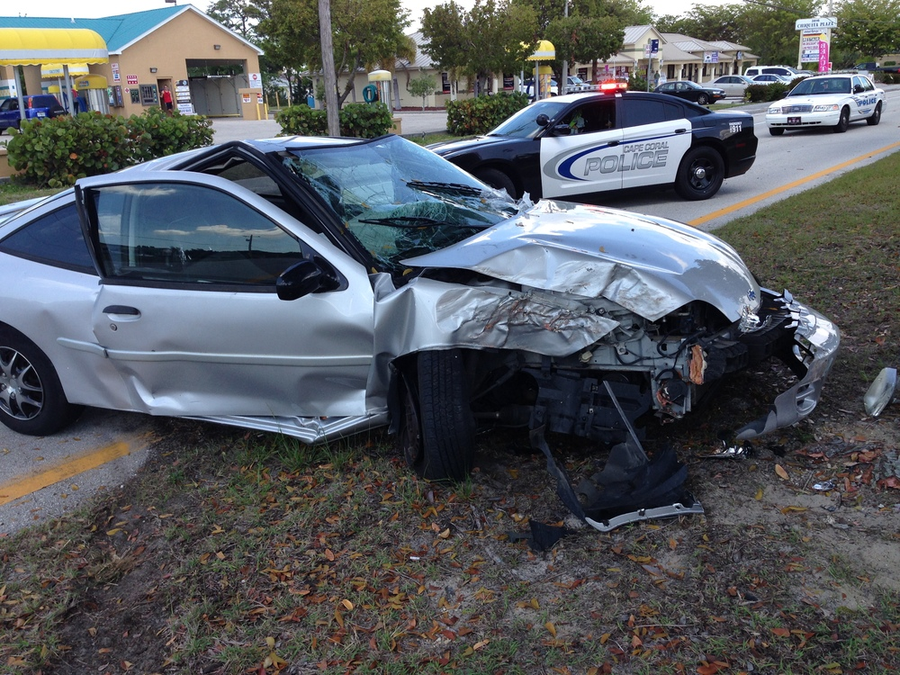 PHOTO:  A crash scene at the 3800 block of Chiquita Boulevard S. on Saturday morning sent two people to the hospital with potentially life-threatening injuries.  This was one of two back-to-back serious injury crashes that day.  (Photo Courtesy of Sgt. Joseph Zalenski, Cape Coral Police Department)