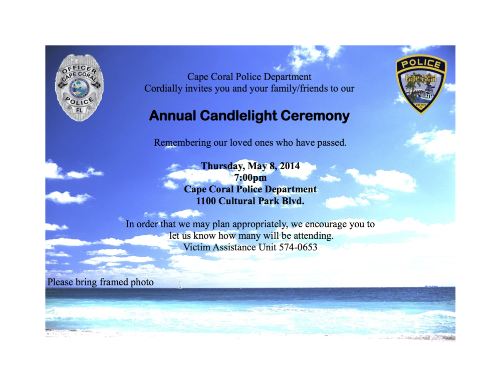 PHOTO:  Picture of invitation to the Cape Coral Police Department 2014 Candlelight Ceremony.  (Photo Courtesy of Cape Coral Police Department)