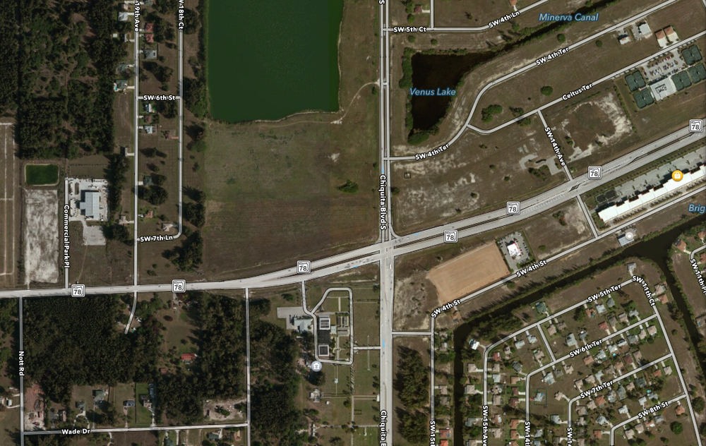 PHOTO:  Aerial view of the intersection of Chiquita Boulevard and Pine Island Road, in Cape Coral.  (Photo Courtesy of Apple)