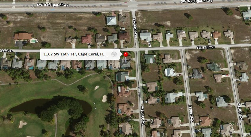 PHOTO:  Aerial map view of where the warrant was served- 1102 SW 16th Terrace, Cape Coral, Florida.  (Photo Courtesy of Apple)