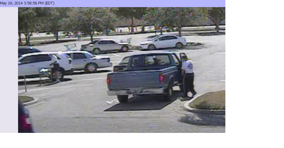 PHOTO:  Pictures from surveillance video of a retail theft suspect.  The white male suspect appears to be between 18-25 years of age, thin build, short blonde or light brown hair and was wearing a white t-shirt and dark colored wind suit pants.  (Photo Courtesy of Cape Coral Police Department)