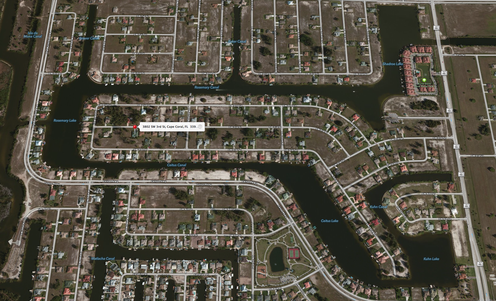 PHOTO:  Aerial view of 3802 SW 3rd St., Cape Coral.  (Photo Courtesy of  Apple )