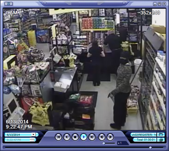 PHOTO:  Surveillance camera stills depicting two black male suspects wearing ski masks, armed with handguns, entering and robbing the Dollar General Store located at 924 NE Pine Island Rd., Cape Coral.  (Photo Courtesy of Cape Coral Police Department)
